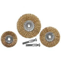 Набір щіток для дрилі 3 шт: 3 плоскі 50-63-75 мм, зі шпильками, металеві,  MTX (MIRI744909)