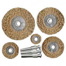 Набір щіток для дрилі 5 шт: 5 плоских 25-38-50-63-75 мм, зі шпильками, металеві,  MTX (MIRI744949)