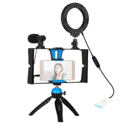 Комплект блогера Puluz PKT3025L 4в1 (кольцевой свет, крепление, держатель для телефона, микрофон) (PKT3025L    )