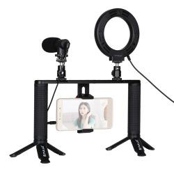 Комплект блогера Puluz PKT3028 4в1 (кольцевой свет, крепление, держатель для телефона, микрофон) (PKT3028     )