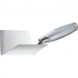 Мастерок з  нержавіючої сталі, 80 х 60 х 60 мм, для внутрішніх кутів, дерев'яна ручка,  MTX (MIRI863089)