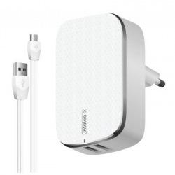 Мережевий зарядний пристрій Intaleo TCA242 (2USB, 2.4A) White (1283126477461) + кабель microUSB (1283126477461)