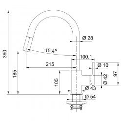 Змішувач Franke Lina /115.0626.081/з витяжним виливом/ фраграніт/ одноричажний/білий (115.0626.081)