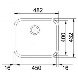 Кухонная мойка Franke Galassia GAX 110-45/122.0021.440/прямоугольная/без крила/48 х 43/ нержав полированная (122.0021.440)