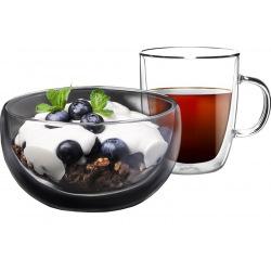 Набір для сніданку Ardesto, чашка 270 мл і піала 500 мл, з подвійними стінками, боросилікатне скло (AR2650BG)