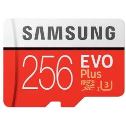Карта пам'яті Samsung 256GB microSDXC C10 UHS-I U3 R100/W90MB/s Evo Plus V2 + SD адаптер (MB-MC256HA/RU)
