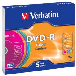Диск Verbatim DVD-R 4.7 GB/120 min 16x Slim 5шт (43557) Color