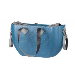 Сумка Nuvita синий корпус/серая подкладка для мам/серые кожанные Набор (ручки, фиксаторы, ремни на тележку) (NV8801P/02G/23G/13G