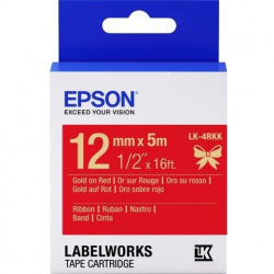 Картридж зі стрічкою Epson LK4RKK принтерів LW-300/400/400VP/700 Satin Gld/Red 12mm/5m (C53S654033)