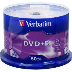 Диск Verbatim DVD+R 4.7 GB/120 min 16x Cake Box 50шт (43550) Silver