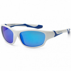 Детские солнцезащитные очки Koolsun бело-голубые серии Sport (Розмір: 6+) (KS-SPWHSH006)