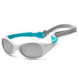 Детские солнцезащитные очки Koolsun  бело-бирюзовые серии Flex (Розмір: 3+) (KS-FLWA003)