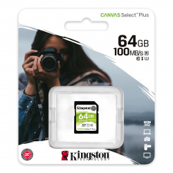 Карта памяти Kingston 64GB SDXC C10 UHS-I R100MB/s (SDS2/64GB)