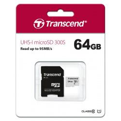 Карта пам'ятi Transcend 64GB microSDXC C10 UHS-I R95/W40MB/s + SD адаптер (TS64GUSD300S-A)