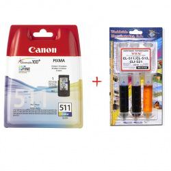 Картридж Canon CL-511C + Заправочный набор C11 C/M/Y (Set511-inkC)