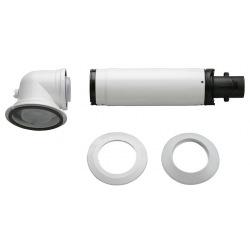 Коаксіальний горизонтальний комплект Bosch AZB 916: відвід 90° + подовжувач 990 - 1200 мм, діаметр 60/100 мм (7736995011)