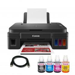 Комплект МФУ Canon Pixma G3411 (без чернил) + USB кабель + Чернила WWM по 140г