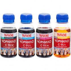 Комплект чорнила WWM C10/11 BP/C/M/Y для Canon 4х100г (C10/11SET4-2) пігментне/водорозчинне