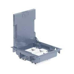 Коробка половая с крышкой из стали на 12 модулей з горизонтальним размещением оборудования, глубиной 75-105мм, цвет серый (89605