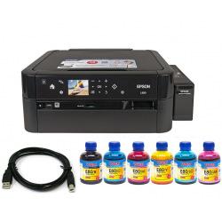 Комплект МФУ Epson L850 Фабрика печати (без чернил) + USB кабель + Чернила WWM по 200г (KP.EL850E80)