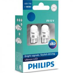Лампа светодиодная Philips W5W  Ultinon 4000K 12V, 2шт/блистер (11961ULW4X2)