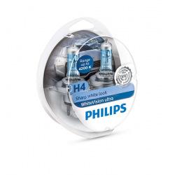 Лампа галогенная Philips H4 WhiteVision Ultra +60%, 4200K, 2шт/блистер (12342WVUSM)