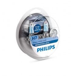 Лампа галогенная Philips H7 WhiteVision Ultra +60%, 4200K, 2шт/блистер (12972WVUSM)