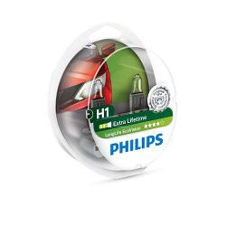 Лампа галогенная Philips H1 LongLife EcoVision, 2шт/блистер (12258LLECOS2)