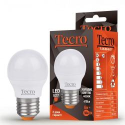 Лампа светодиодная Tecro E27, 6Вт, 4000K, аналог лампы накаливания 50Вт (TL-G45-6W-4K-E27)