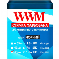 Стрічка фарбуюча WWM 10мм х 1.8м HD кільце Refill Black (R10.1.8H)