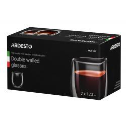 Набір чашок Ardesto з подвійними стінками для американо, 120 мл, H 7,5 см, 2 од., боросилікатне скло (AR2612G)