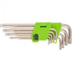 Набір ключів подовжених імбусових Tamper-Torx, 9 шт: TTT10-T50, 45x, загартовані, нікель, Сибртех (MIRI12322)