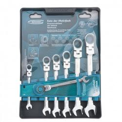 Набір ключів шарнірних комбінованих з тріскачкою, 8 - 19 мм, 7 шт,  CrV,  GROSS (MIRI14891)