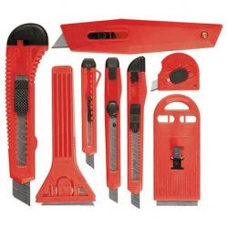 Набір ножів, висувні леза, 9 мм-4, 18 мм-2 + шкребки висувні фіксовані леза, 40-52 мм, 2 шт,  MTX (MIRI789919)