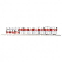 """Набір торцевих головок 3/8"""", 12-гранні, CrV, 10 шт, 9-19 мм,  MTX (MIRI135959)"""
