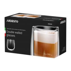 Набір чашок Ardesto з подвійними стінками , 250 мл, H 9,5 см, 2 од., боросилікатне скло (AR2625G)