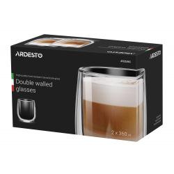 Набір чашкок Ardesto з подвійними стінками, 360 мл, H 10,5 см, 2 од., боросилікатне скло (AR2636G)