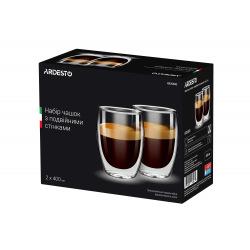 Набір чашок Ardesto з подвійними стінками, 400 мл, H 13,5 см, 2 од., боросилікатне скло (AR2640G)