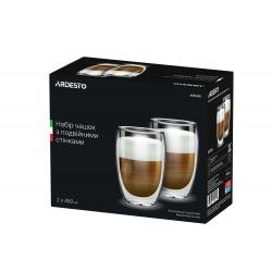 Набір чашок Ardesto з подвійними стінками, 450 мл, H 14,5 см, 2 од., боросилікатне скло (AR2645G)