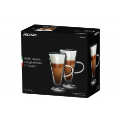 Набір чашок Ardesto з ручками з подвійними стінками, 230 мл, H 15,8 см, 2 од., боросилікатне скло (AR2623GH)