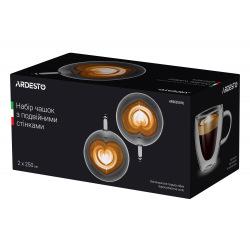 Набір чашок з ручками Ardesto з подвійними стінками, 250 мл, H 9,5 см, 2 од., боросилікатне скло (AR2625GHL)