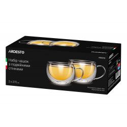 Набір чашок з ручками Ardesto з подвійними стінками, 270 мл, H 7,5 см, 2 од., боросилікатне скло (AR2627GH)