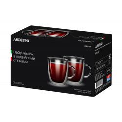 Набір чашок Ardesto з ручками з подвійними стінками, 310 мл, H 10,2 см, 2 од., боросилікатне скло (AR2631GH)