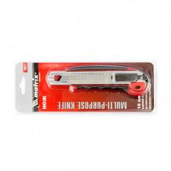 Ніж 18 мм, висувне лезо, металева направляюча, прогумована ручка + 5 лез,  MTX MASTER (MIRI789219)