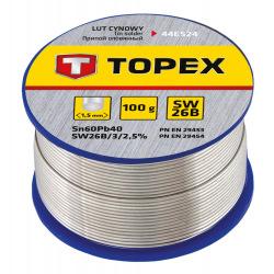 Припiй Topex олов'яний 60%Sn, проволока 1.5 мм,100 г (44E524)