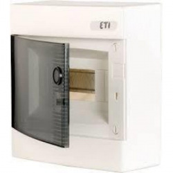 Щит пластиковый ETI ECT 8PT (наружный 1х4+4мод, дверь прозр, IP40) (1101000)