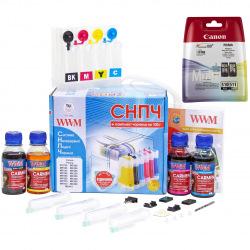 СНПЧ з Чорнилом по 100г WWM + Картриджі PG-510 и CL-511 для Принтера Canon (IS.0119SET)