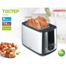 Тостер Ardesto T-K200/800Вт/розморожування/підігрівання/ автоовідключення/7 ступенів обжарювання/нерж. сталь (T-K200)
