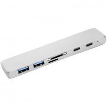 USB-хаб PowerPlant Type-C - HDMI 4K, USB 3.0, USB Type-C, SD, microSD (CA911684)