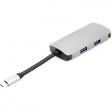 USB-хаб PowerPlant Type-C - HDMI 4K, USB 3.0, USB Type-C, RJ45 (CA911691)